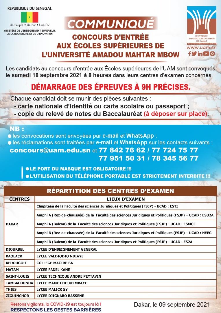 Communique convocation Concours UAM : Répartition des centres d'examen